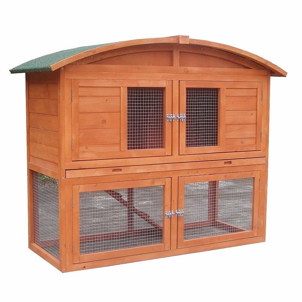 Runddach Kaninchenstall Aufzucht Freigehege Freilauf Käfig Nagerkäfig Holz Braun