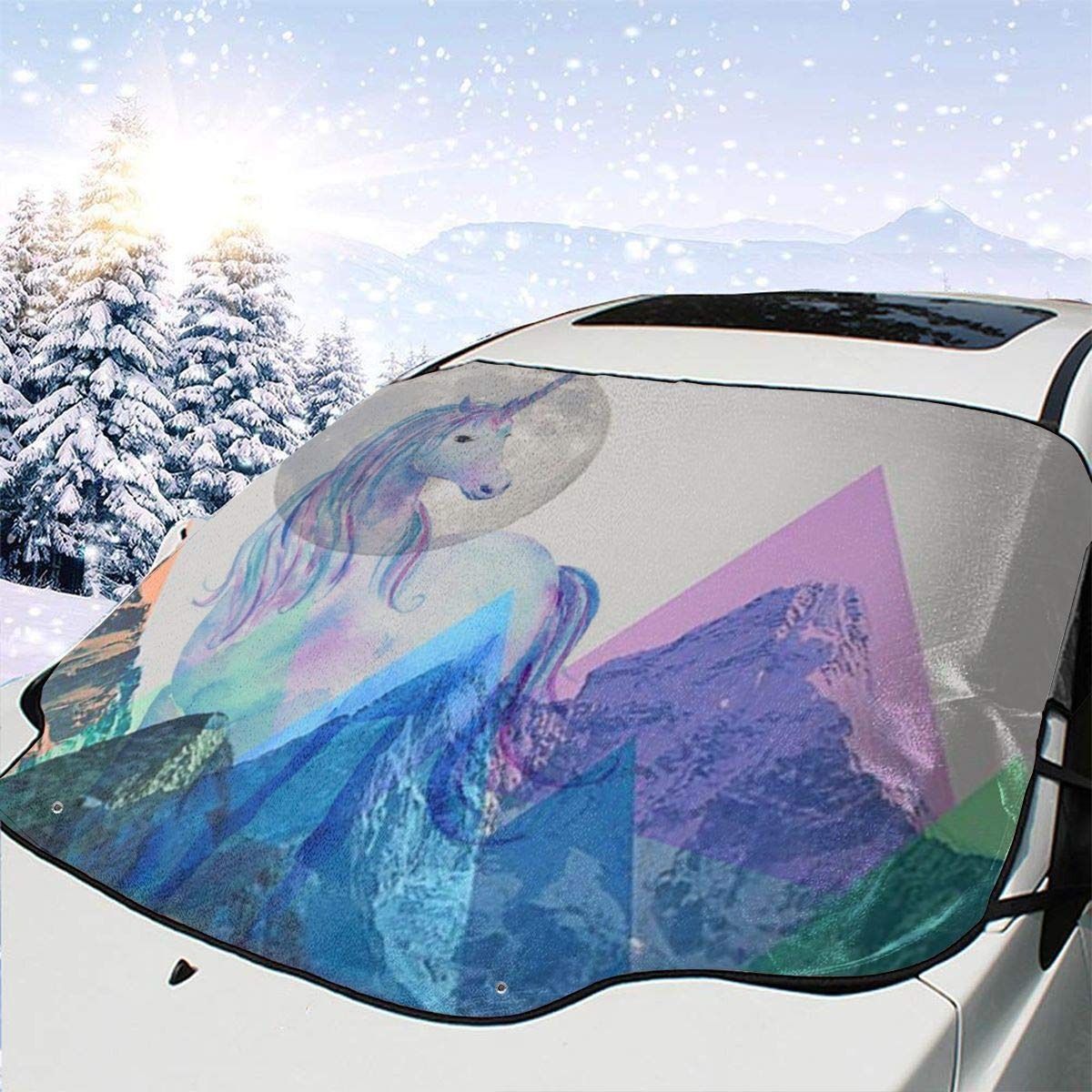 THONFIRE Car Front Window Windshield Winter Sun Shade Llama Unicorn Cover Rainproof Blocks UV Rays Damage Free Visor Protector Automobile Summer Heatshield by THONFIRE