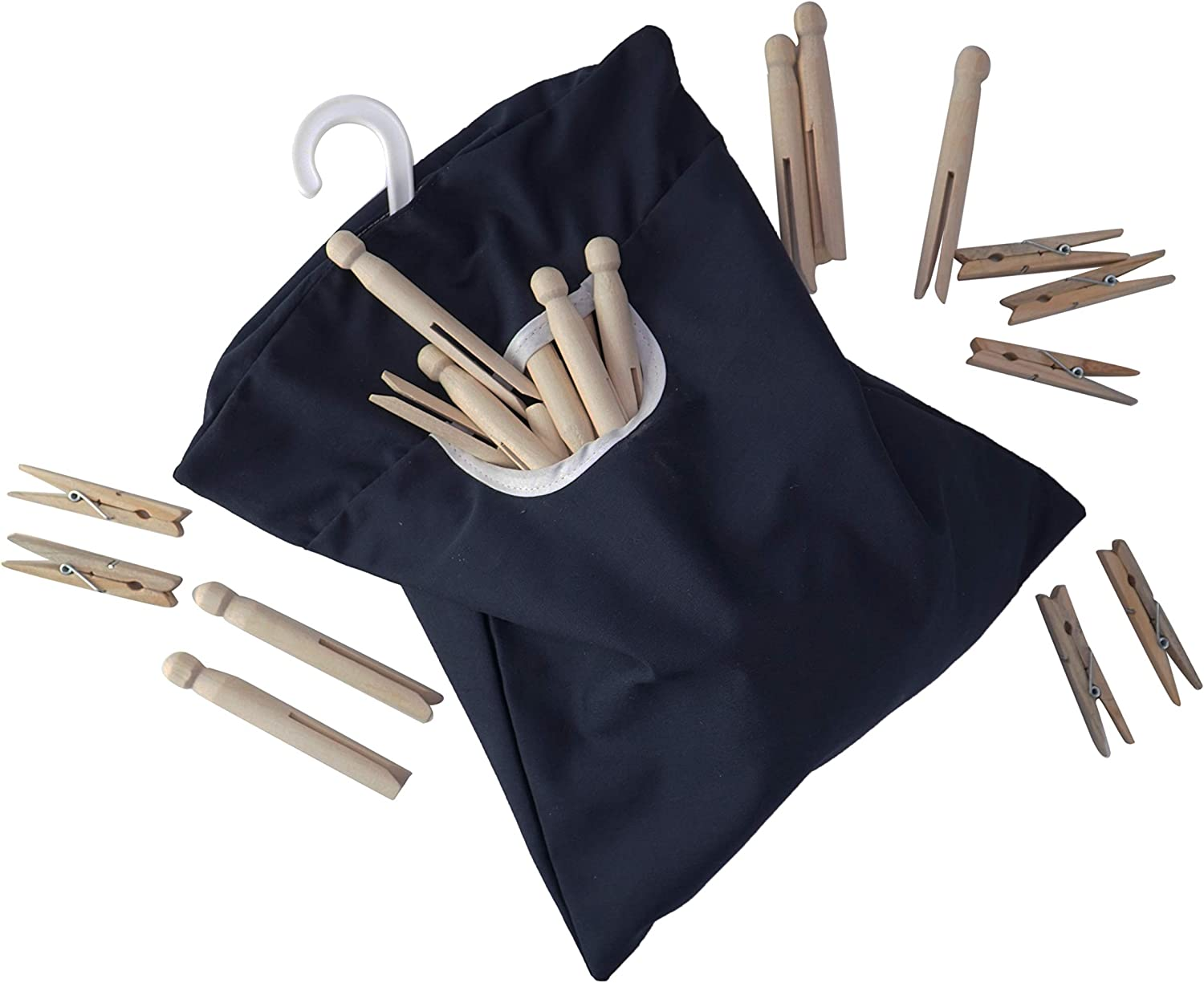 HOME-X Canvas Clothespin Storage Bag - Holds 100 Medium-Sized Clothes Pins-Hook for Hanging and Effortlessly Sliding on The Clothesline with an Easy to Use Opening-11 x14-Black
