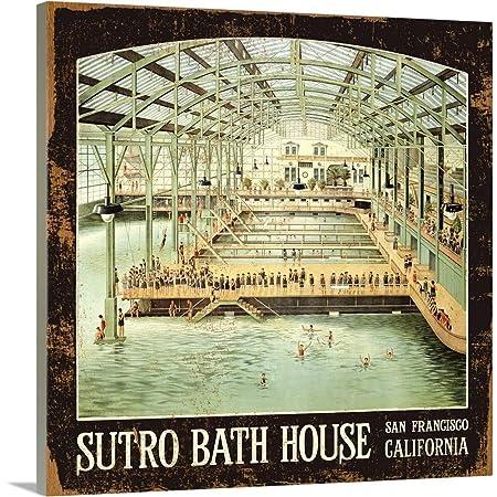 Sutro Bath House San Francisco Vintage Advertising Poster Canvas Wall Art Print, 16 x16 x1.25