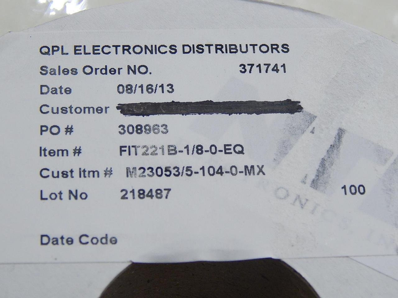 QPL Electronics Distributors FIT221B-1/8-0-EQ, 47-103100-BK