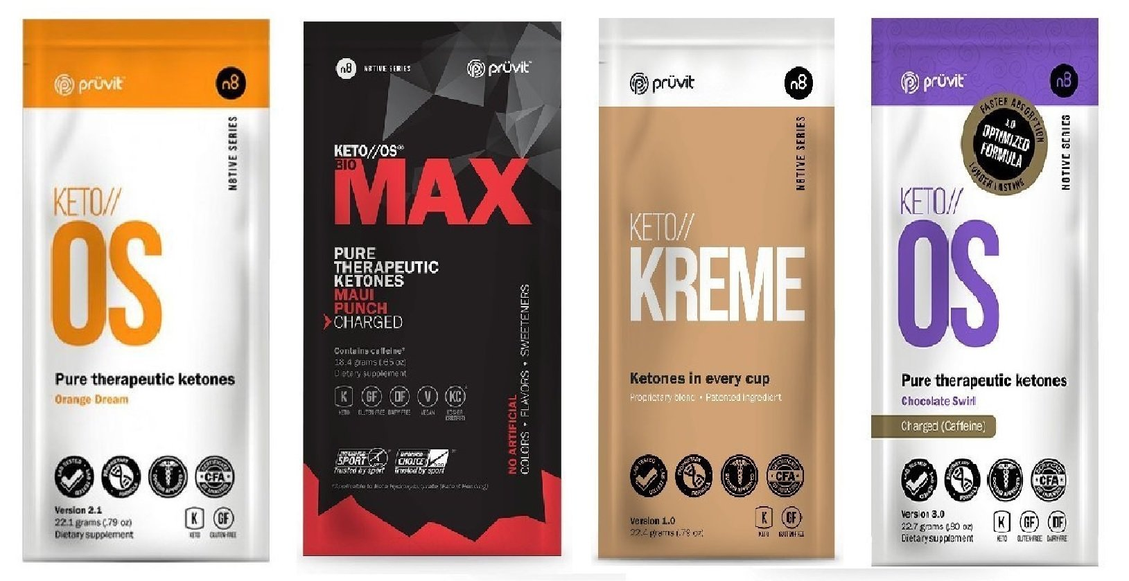 Pruvit Keto//os Charged Ketones 4 Variety Bundle of MAX Maui Punch, Chocolate Swirl,Orange Dream, Kreme guaranteed Ketosis and great for Keto Diet and Lifestyle