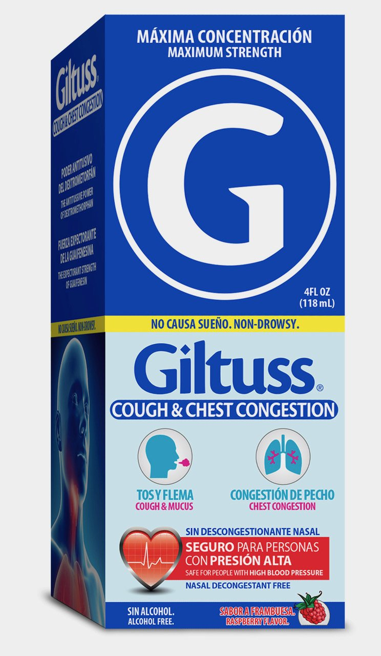 GILTUSS Maximum Strength Non Drowsy Cough & Chest Congestion Medicine Liquid (4 oz) - Raspberry Flavor for Cough, Mucus and Chest Congestion - Alcohol & Nasal Decongestants Free