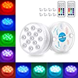 Winzwon Pool Lights Underwater Submersible Led Shower Lights Pack of 2 with Remote, Magnet, Suction Cups, IP68…