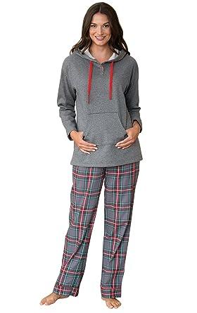 PajamaGram Hooded Fleece and Flannel Plaid Pajamas for Women, Gray, XSM (2-