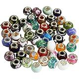 Lot de 50 Apprêts, Breloques et Perles en Verre Soufflé Style Murano pour Bijoux, Bracelets et Colliers par Kurtzy TM