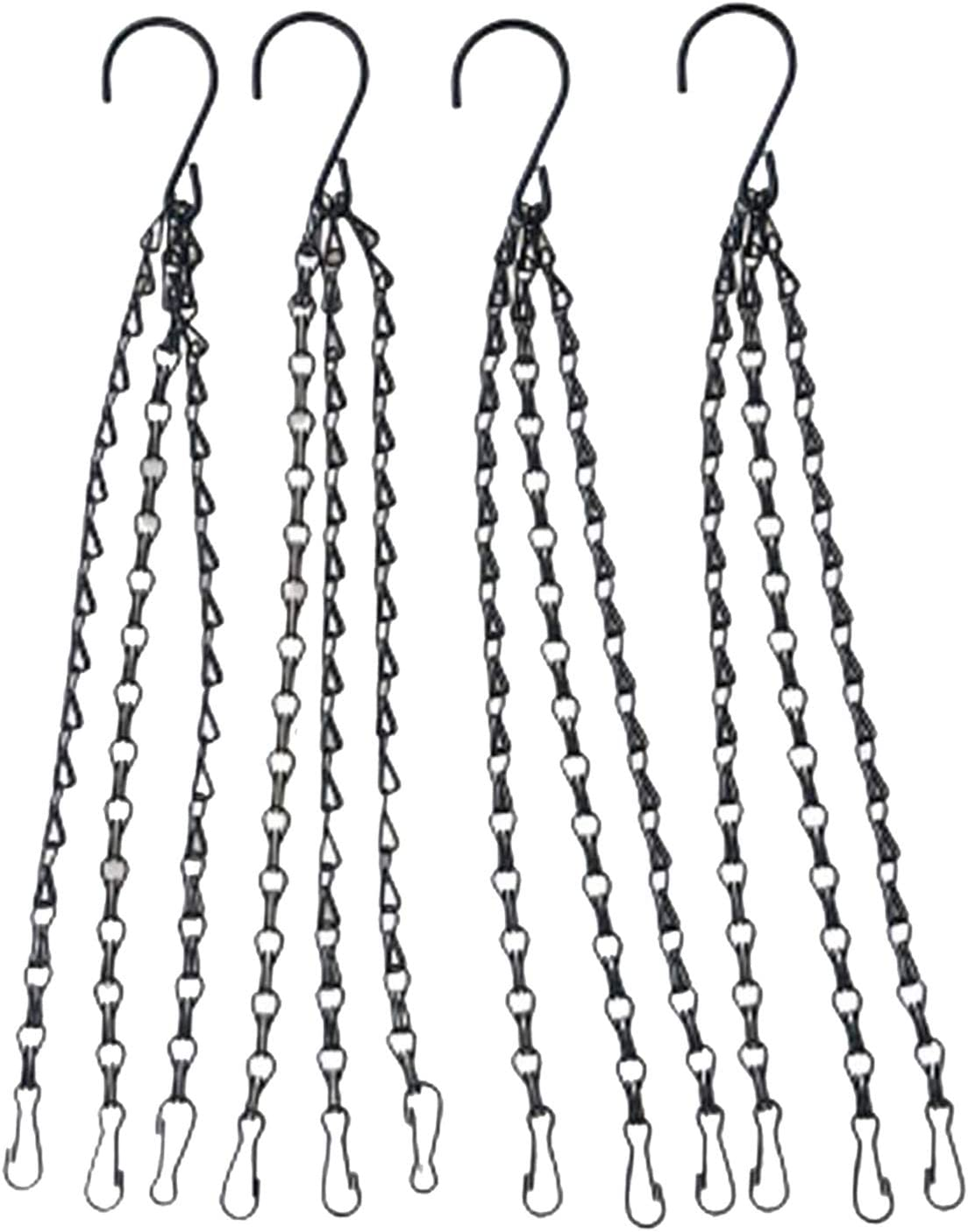 4Pack - 20 Inch Black Hanging Basket Chains Flower Plant Pot Replacement Chain Hanger for Bird Feeders, Planters, Lanterns and Ornaments