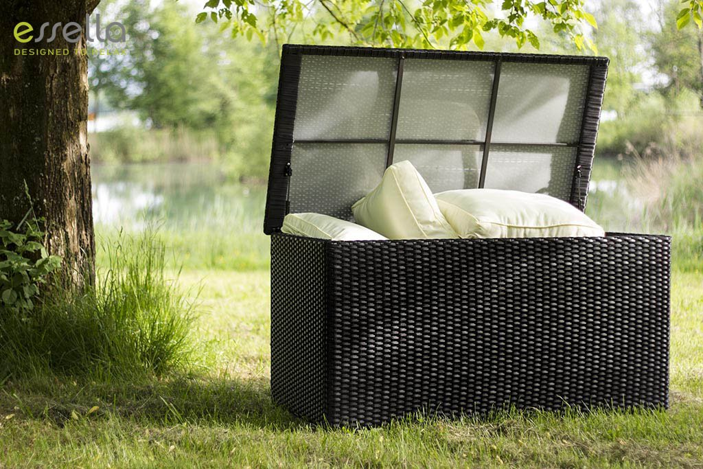 essella Polyrattan Kissenbox L in Schwarz