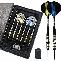 Dartpijlen met metalen punt 23g,Darts steel tip 6 Pack met Aluminium Shaft 2 Style Flights en Dart Case, Professionele…