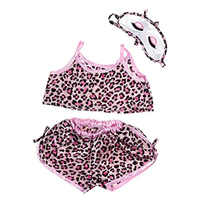 "Girl's Pink Leopard Shorts and Sleepmask Outfit Fits Most 14"" - 18"" Build-a-Bear and Make Your Own: Toys & Games"