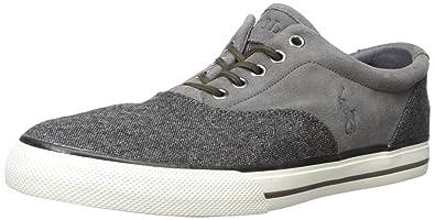Polo Ralph Lauren Men's Vaughn Saddle Tweed Fashion Sneaker, Dark Charcoal/ Charcoal Grey,