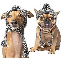 SEIS - Gorro de invierno para perro con pompón cálido para mascotas, color gris