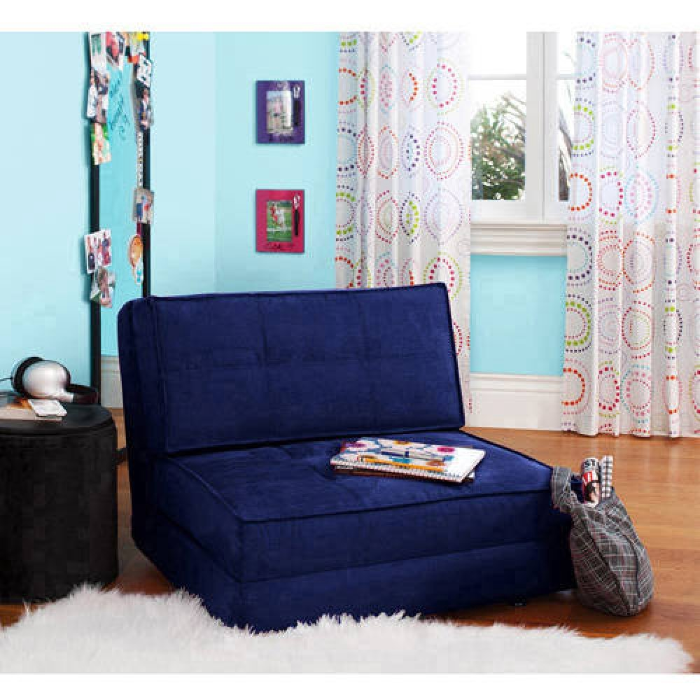 Your Zone – Flip Chair Convertible Sleeper Dorm Bed Couch Lounger Sofa Multi Color New Blue