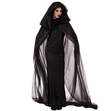 Damen Umhang Kostum Cape Mit Kapuze Halloween Weihnachten Karneval