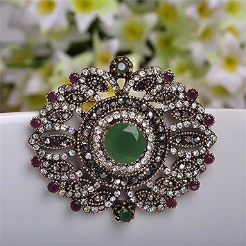 253f89f3b731c Amazon.com: Turkish Vintage Flower Big Brooches Pin Round Beautiful ...