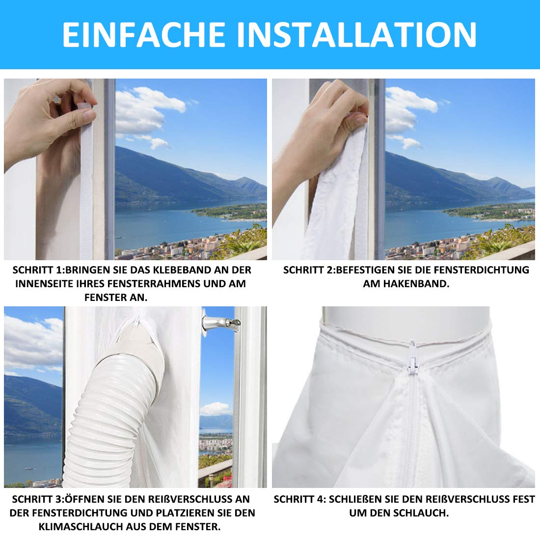 4m Textil Fensterabdichtung Hot Air Stop Klimaanlage Klimagerät Abluftschlauch