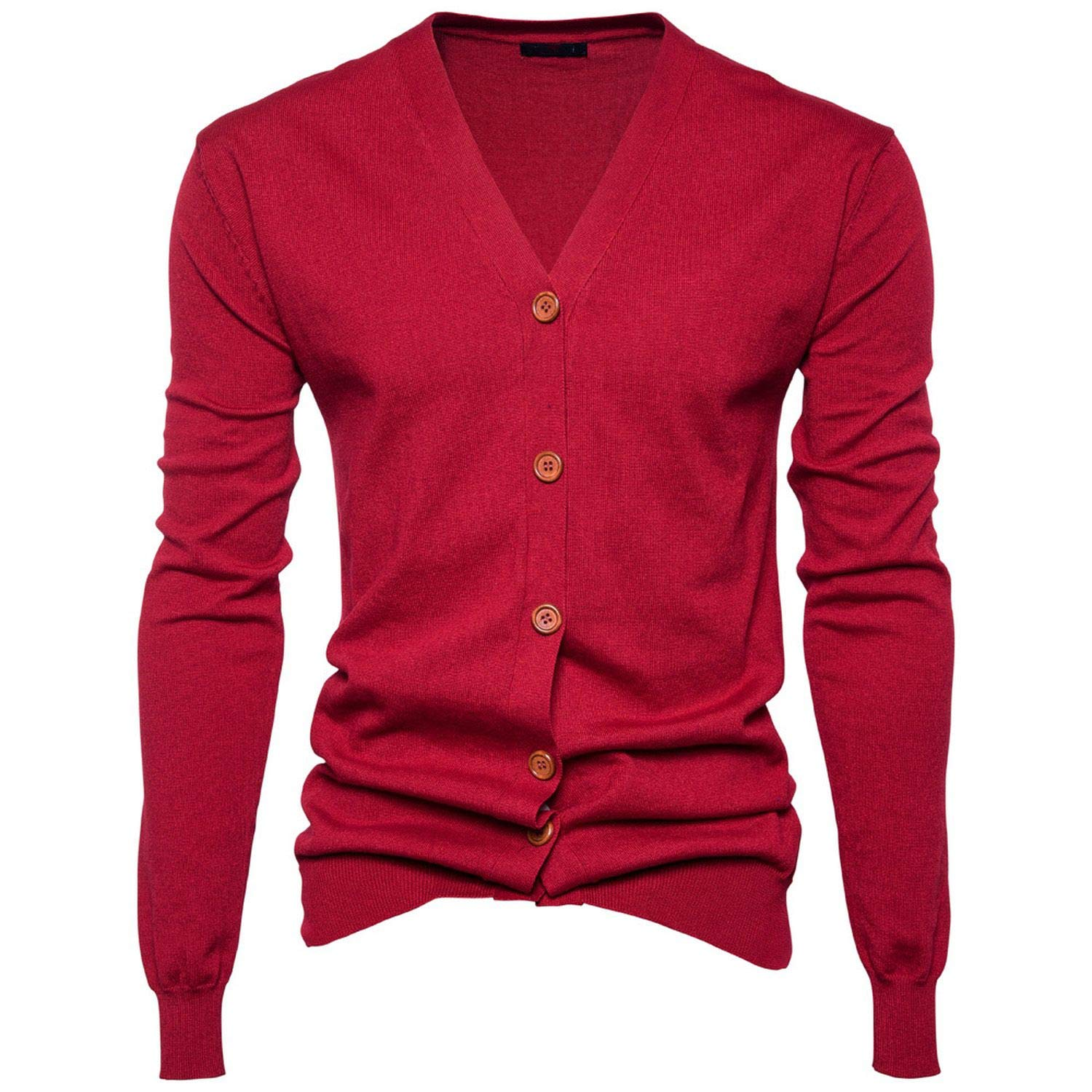 Men Sweater Casual Button V-Neck Sweaters Long Sleeve Cotton Knit Cardigan Slim Fit Pull Homme Multicolor