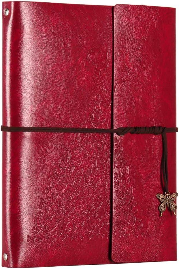 XIUJUAN álbum Fotos para Pegar, DIY Scrapbooking Album Cuero Vintage Libros de firmas, Regalo Originales de Navidad cumpleaños Aniversario Boda San Valentín para Mujer Madre Novia, niña, Rojo Grande