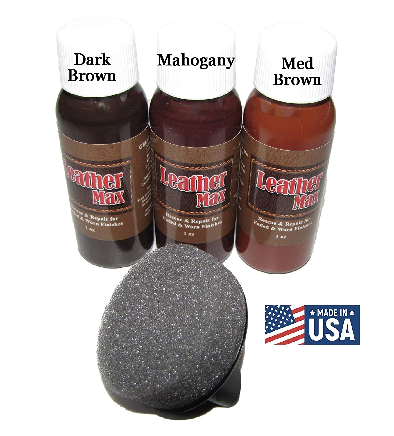 Leather Max Quick Blend Refinish and Repair Kit, Restore, Recolor & Repair / 3 Color Shades to Blend with/Leather Vinyl Bonded and More (Dark Browns)