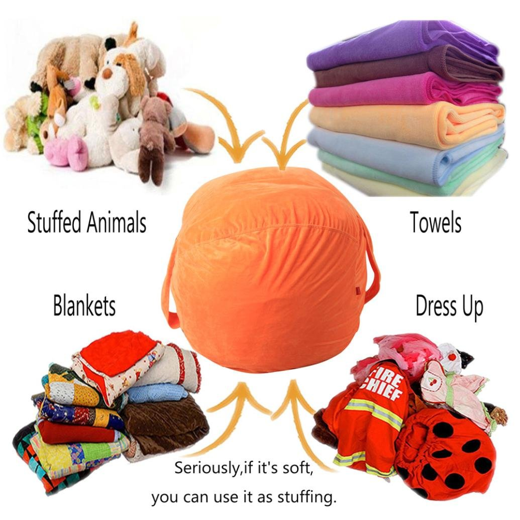 Toy Storage bean Bag Purple Kingko/® 16 inch Stuffed Animal Organizer Soft Comfy Case Colorful Cover Creates Cozy Lounger Bed Sofa