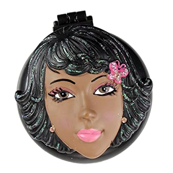 Liza Compact Mirror with Popup Brush African American Girl