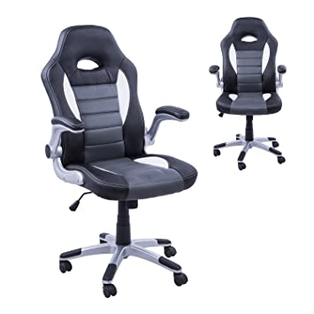 Homcom Racing Office Chair PU Leather Bucket Computer Chair Gaming Swivel  Adjustable Desk Chair (Black