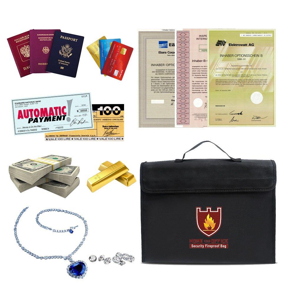 Feuerfeste Dokumententasche, Wasserdichte Dokumententasche mit Verstellbarem Schultergurt 15*11*3 Inch für Geldtasche, Dokumenten, Pässe, Karten und viele wichtige Dingen.