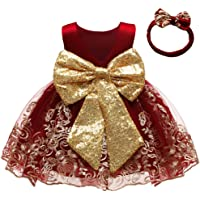 CMMCHAAH 0-6 Years Baby Girls Pageant Lace Embroidery Dresses Toddler Formal Dress with Headwear