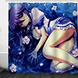 Miss-Loly Japanese Anime Girl Shower Curtain, Mildew Resistant Waterproof 3D Digital Printing Polyester Fabric Shower Curtains with 12PCS Hook, 72'' x 72''