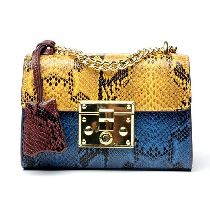 Shoulder Bag For Women Genuine Leather Crossbody Bag Padlock Python Chain Handbag