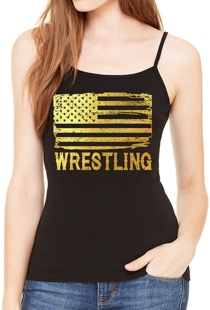 Interstate Apparel Inc Junior's Gold Foil Wrestling American Flag Black Spaghetti Strap T-Shirt 3X-Large Black by Interstate Apparel Inc