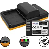 2 Batteries + Dual Charger (USB) for DMW-BLF19, BP-61 / Panasonic Lumix DC-GH5 / DMC-GH3, GH4 / Sigma SD Quattro (H) - Cable micro USB included (2 batteries chargeable simultaneously)