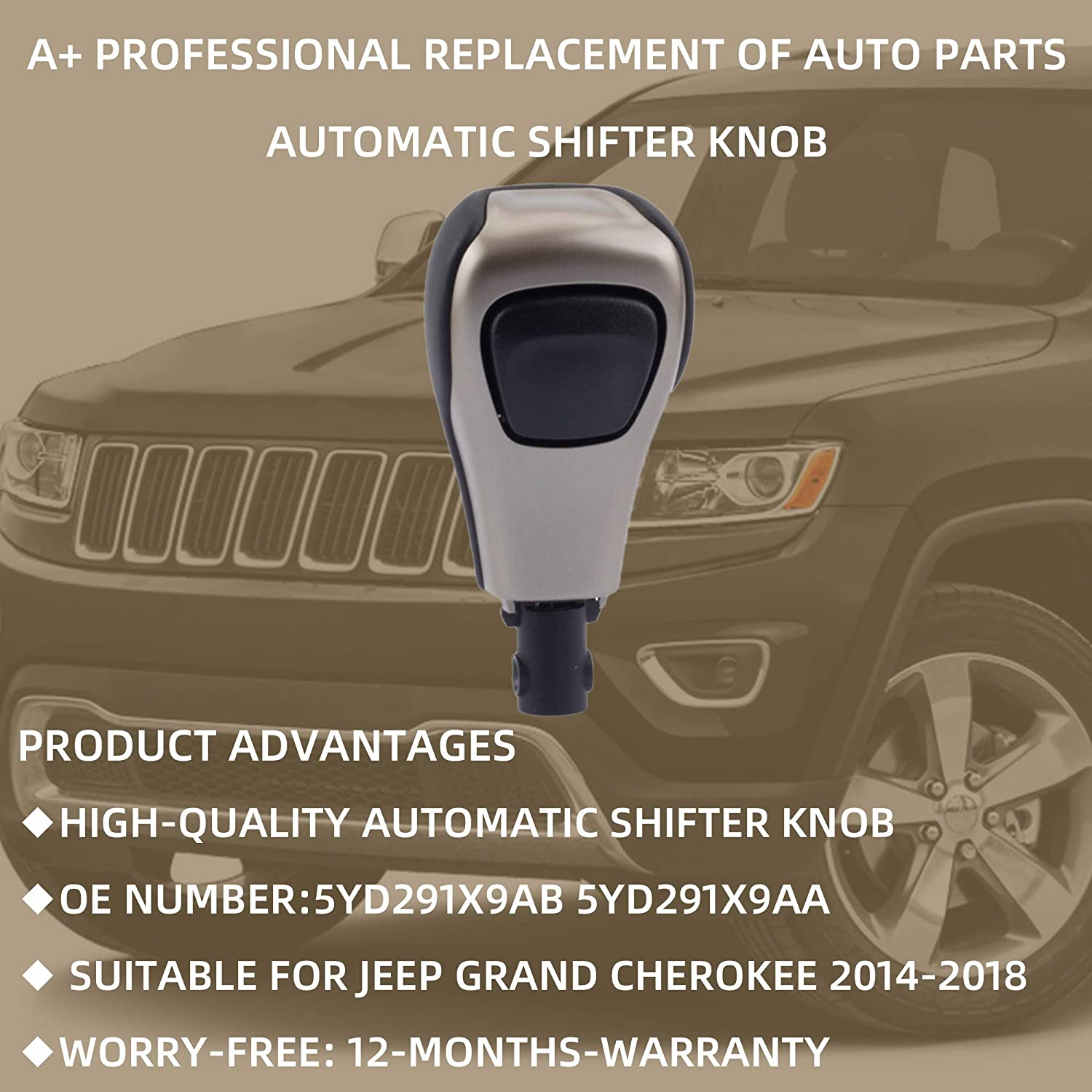 Dasbecan Automatic Shifter Knob Replaces Compatible with Jeep Grand Cherokee 2014-2018 OE # 5YD291X9AB 5YD291X9AA