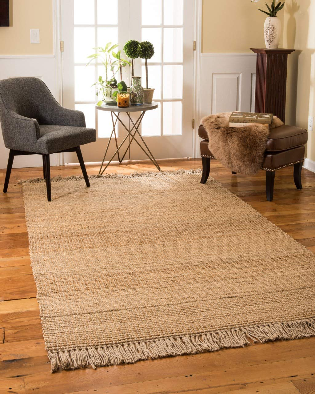 Natural Area Rugs 100 Natural Fiber Handmade Sicily Jute Rectangular Rug 6 X 9 Beige