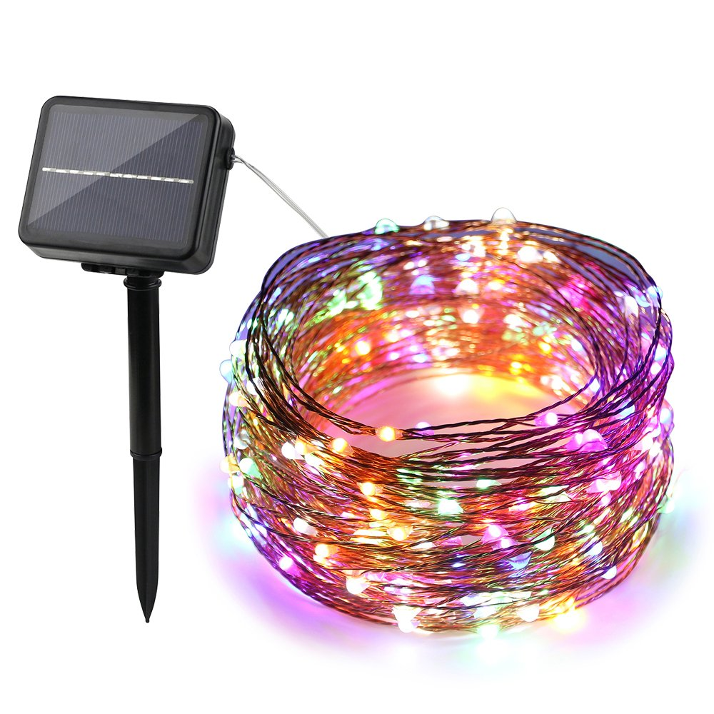 ErChen Dual-Color Solar Powered LED String Lights, 99FT 300 LEDs Color Changing 8 modes Waterproof Copper Wire Decorative Fairy Lights for Outdoor Garden Patio(Warm White/Multicolor)