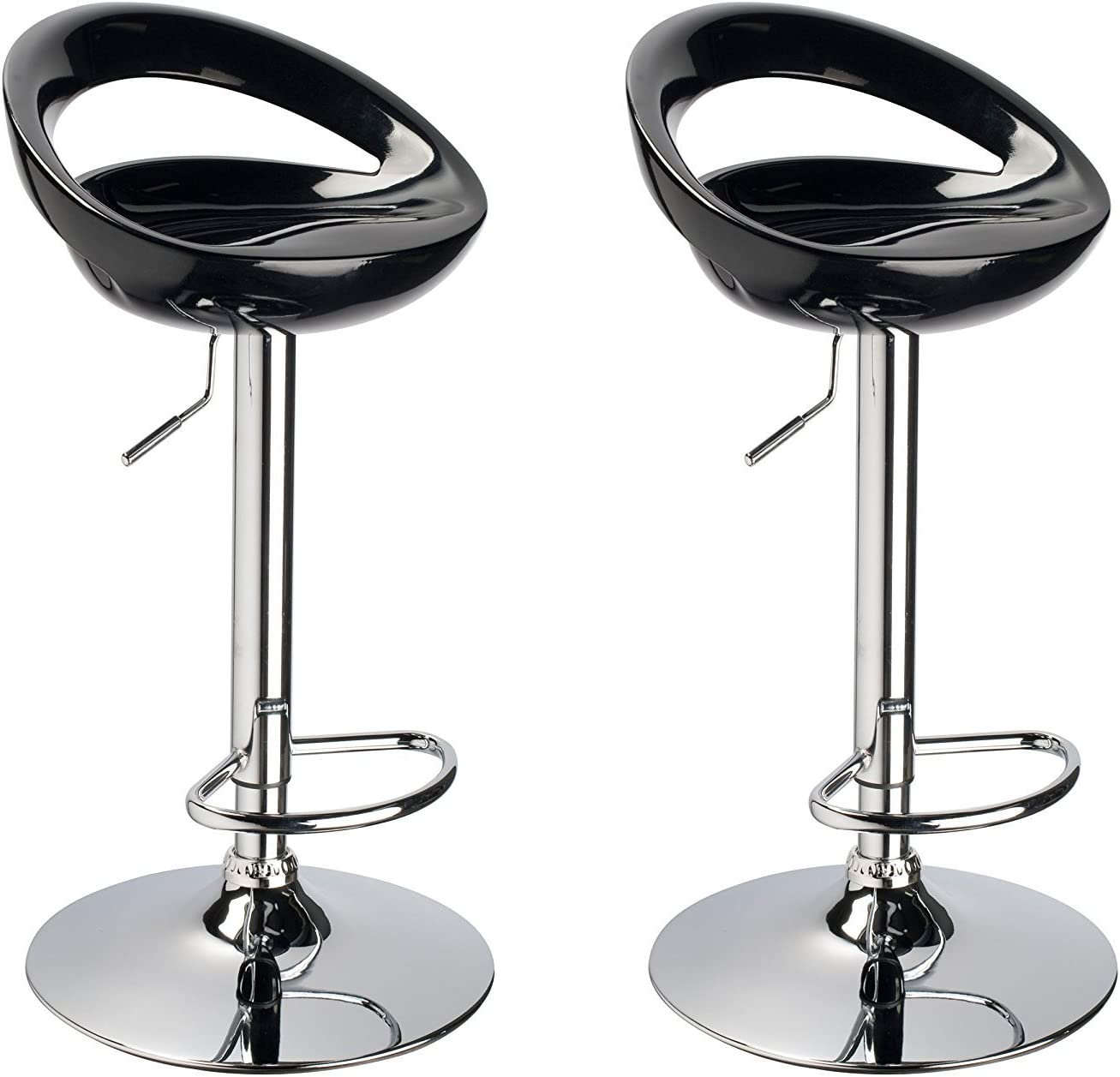 Duhome 2 PCS Contemporary Swizzle Gloss Finish Crescent Shape Adjustable Swivel Bar Stools Kitchen Counter Island Pub Stool