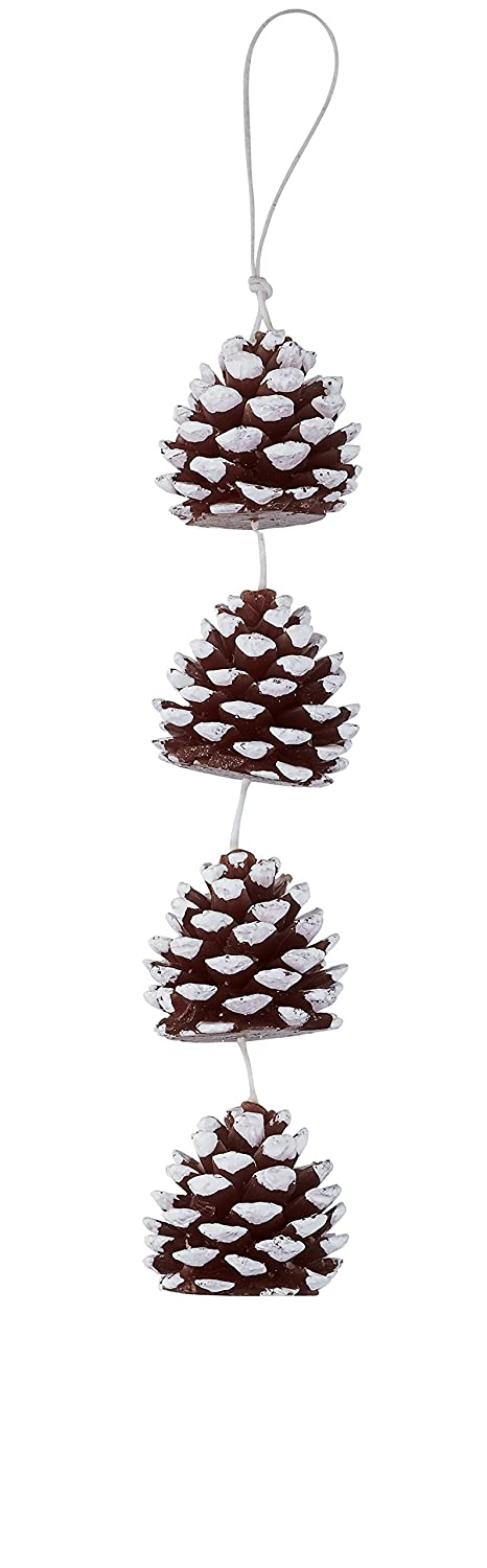 DecoFLAIR Candles On A Rope Scented Tealight Votive Candles, Pine Cone, String of 5 Candles COR6496