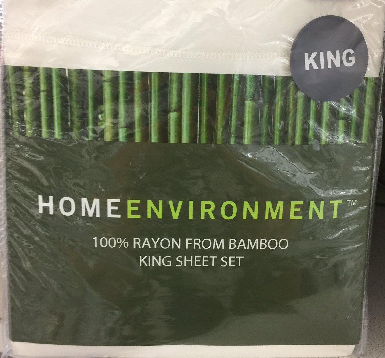 Home Environment White King Sheet Set 100% Rayon from Bamboo - Antibacterial Eco-friendly