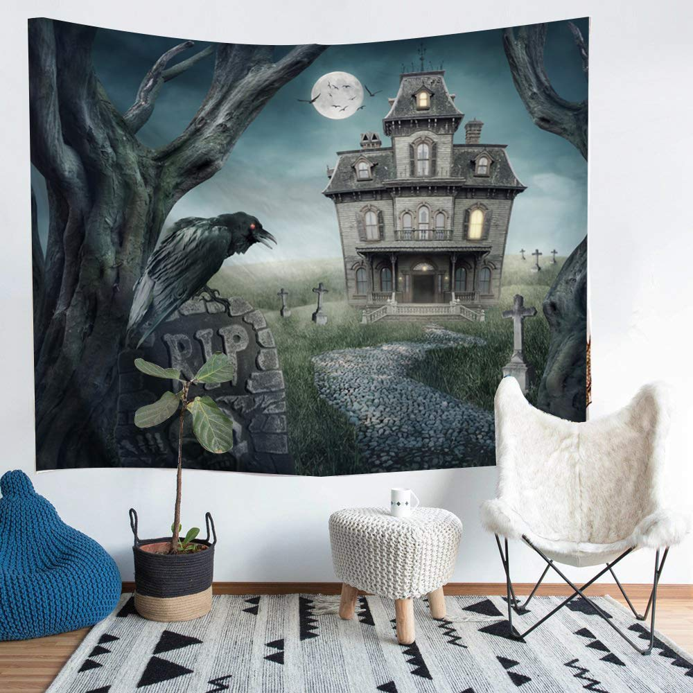 KLOLKUTTA Happy Halloween Tapestry Wall Hanging Decor, Skeletons Design Ghost Wall Art Decor Yellow Pumpkin Horror Atmosphere Bedroom Living Room Decoration (80'' X 60'', Castle Ghost with Raven)