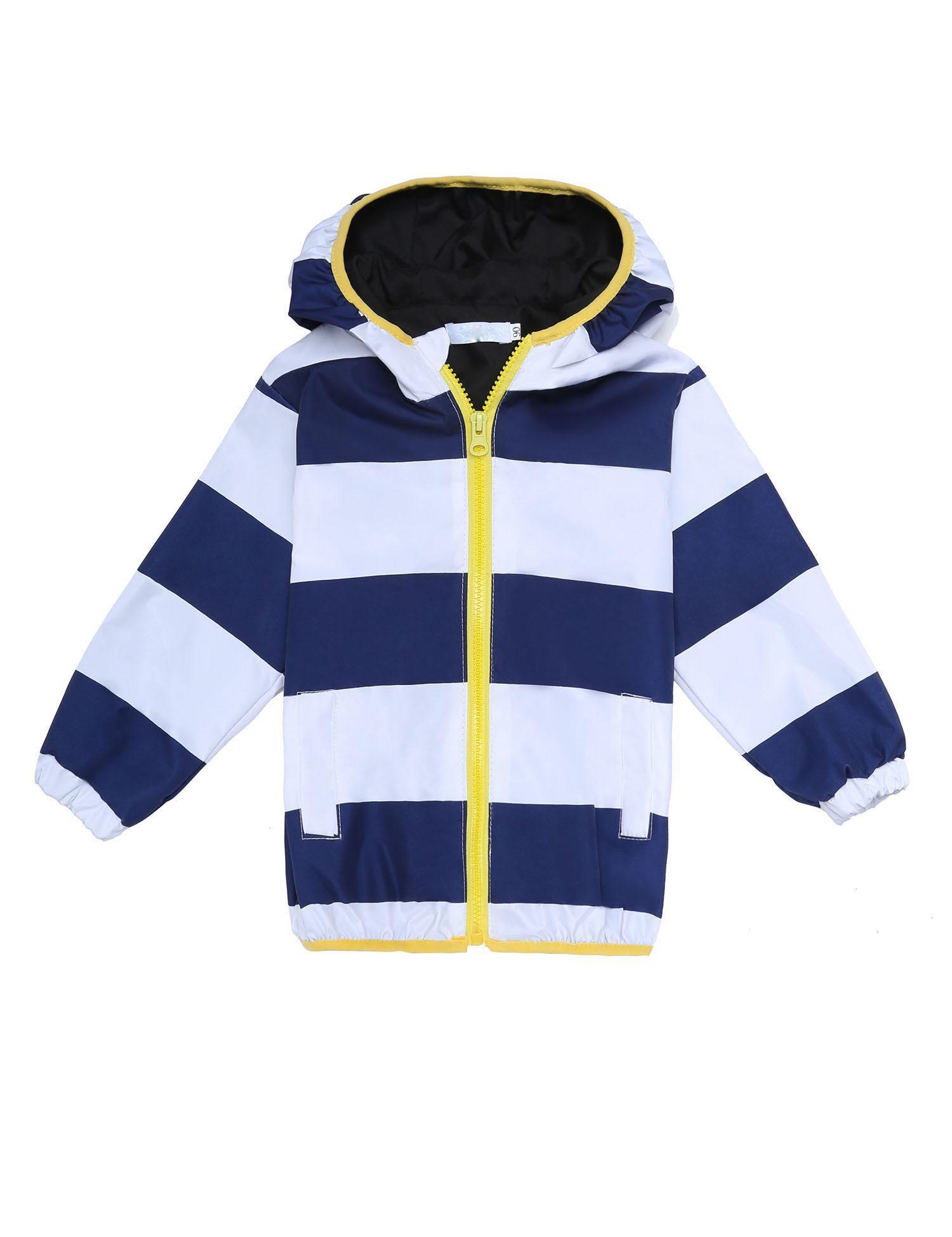 Dickin Kids Unisex Waterproof Striped Lightweight Zip-up Outwear Windbreaker Raincoat with Hooded by Dickin