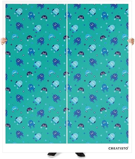 Diseño Pantalla IKEA Pax Armario 236 cm altura – Puerta corredera autoadhesivo diseño Robots – Azul (Kids) Deko pantalla Your Design Armario Infantil, Vinilo de calidad sin disolventes, Robots - Blau, Pax