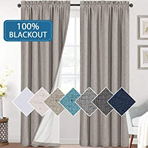 Bedroom 100% Blackout Curtains Textured Linen Look Room Darkening Drapes for Living Room, Thermal Insulated Rod Pocket Curtains Burlap Fabric with White Liner(Taupe, 2 Panels, 52x84-Inch)