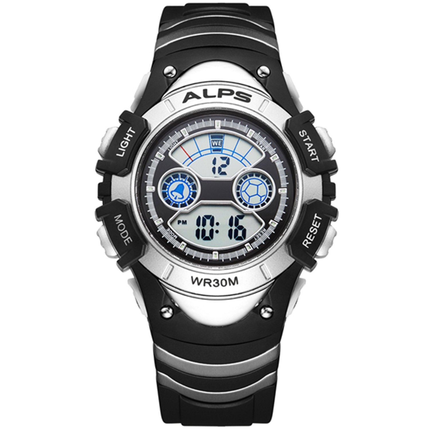 Kid's Outdoor Sports Waterproof Digital Watch With Alarm,calendar And Stopwatch(Silver)