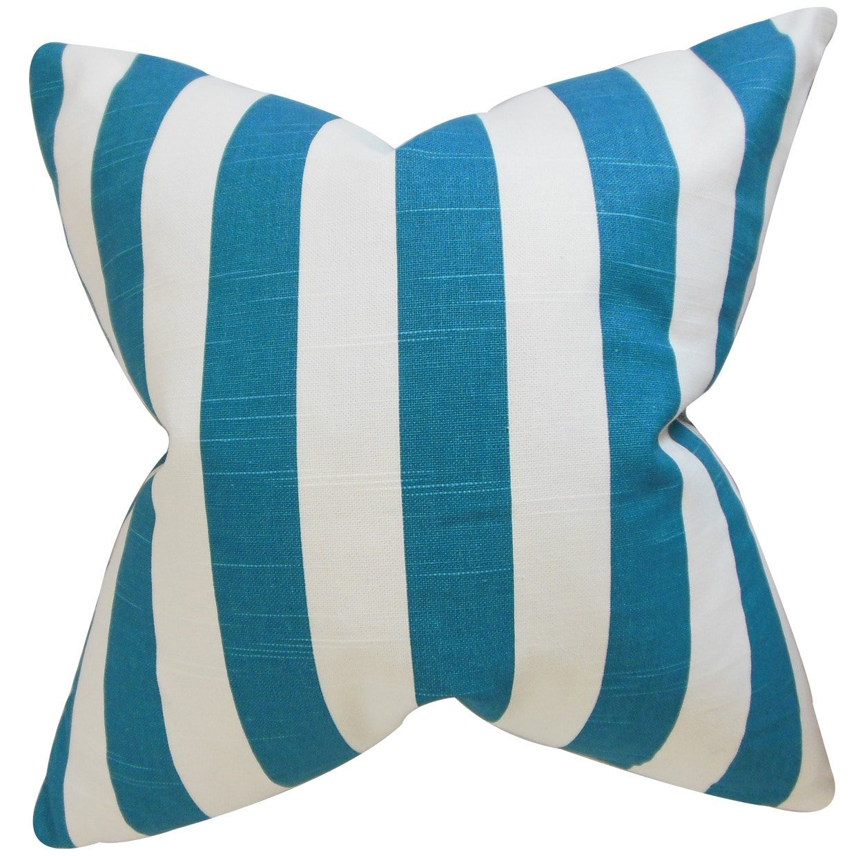The Pillow Collection Ilaam Stripes Blue Down Filled Throw Pillow