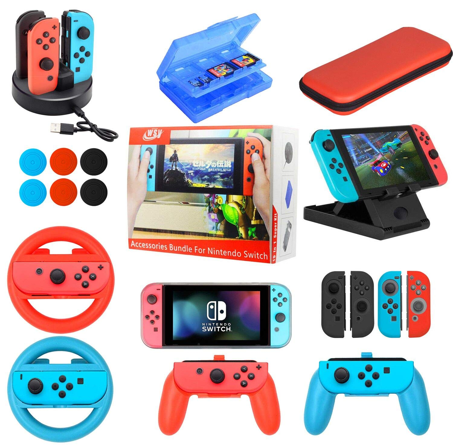 Accessories Bundle for Nintendo Switch 19 in 1 Essential Games Kit for Switch Including Joy Con Covers,Grips,Wheels and Thumbstick Caps, Carry Bag Charging Dock, Game Card Case PlayStand
