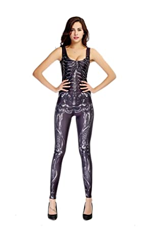 5b8a6a338bb CDSS Sexy Halloween bone Catwomen Jumpsuit PVC Spandex Latex Catsuit  Costumes for Women Body Suits Fetish