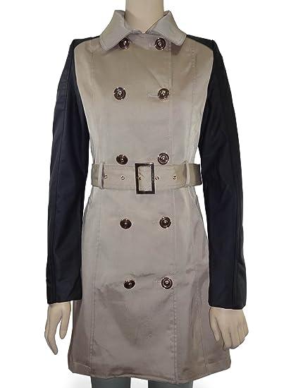 55aa0fa9f2fb Nouveau Mode pour femme simili cuir manches double boutonnage Trench Coat  Veste - -