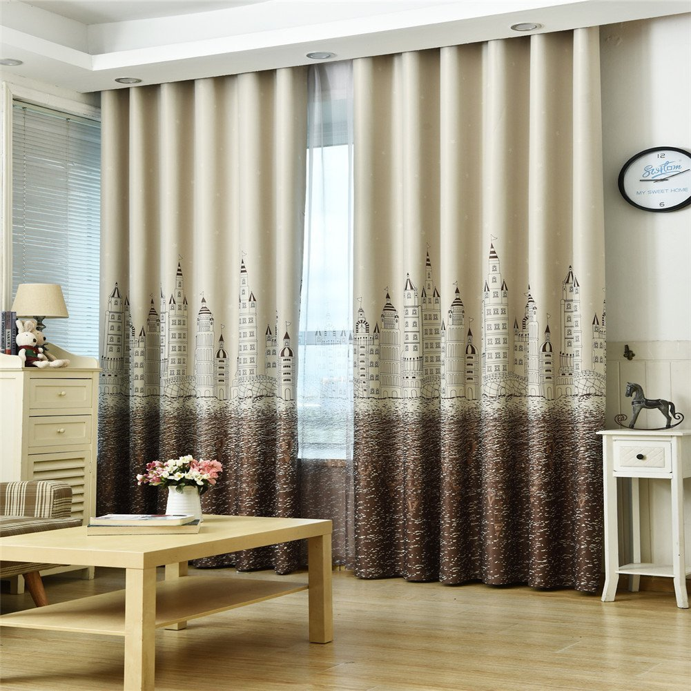 Animal Printed 166x150cm D DOLITY Pair of Blackout Darkening Curtains Drapes for Window Bath Living Rroom Bedroom Swan with Hooks and Rings for Curtain Rod or Track