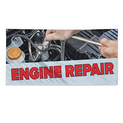Amazon.com: Engine Repair #2 Outdoor Fence Sign Vinyl Windproof Mesh Banner With Grommets - 5ftx10ft, 10 Grommets: Office Products