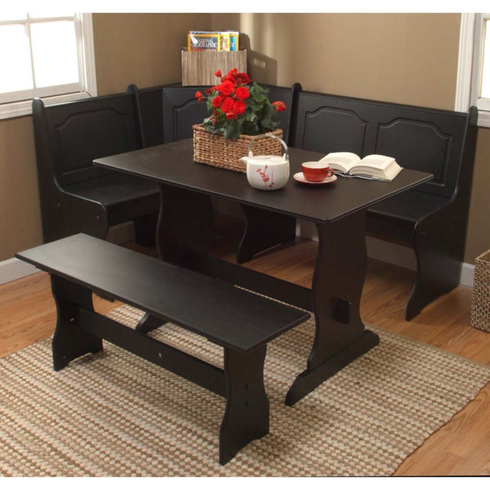 Amazon.com - Target Marketing Systems Traditional Style 3 Piece Nook Corner Dining Set Seats 6 Black - Table u0026 Chair Sets : kitchen table set with bench - pezcame.com